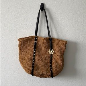 Michael Kors Large Straw Studded Shopper Tote